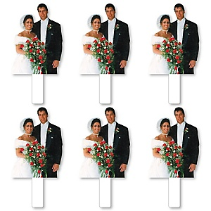 Couples Photo Cutout Paddles - Custom Cut Out Photo and Fan Props - Upload 1 Photo - Picture Paddles - 6 Pieces