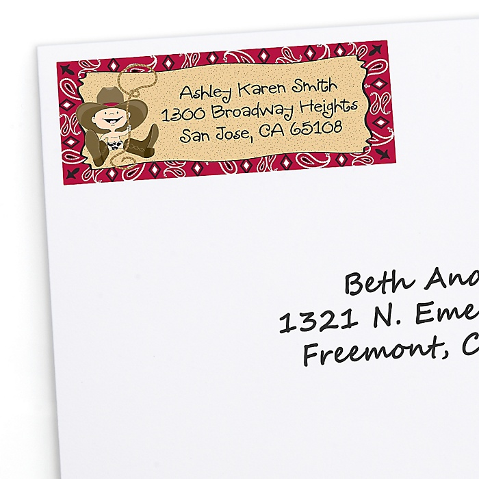 Little Cowboy - Western Personalized Baby Shower Return Address Labels - 30 ct