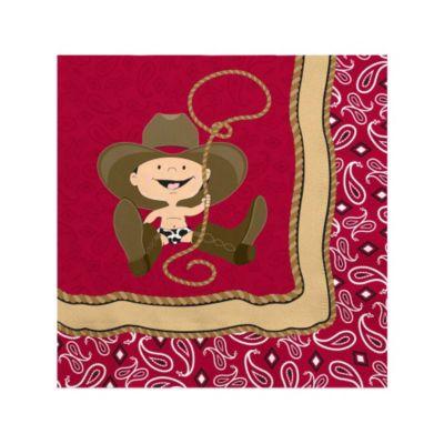 Little Cowboy   Western Baby Shower Beverage Napkins   16 Ct