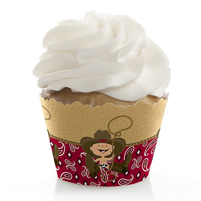 Little Cowboy - Western Baby Shower Decorations - Party Cupcake Wrappers - Set of 12