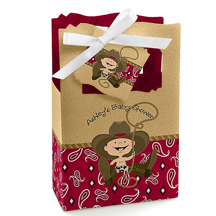 Little Cowboy - Western Personalized Baby Shower Favor Boxes - Set of 12