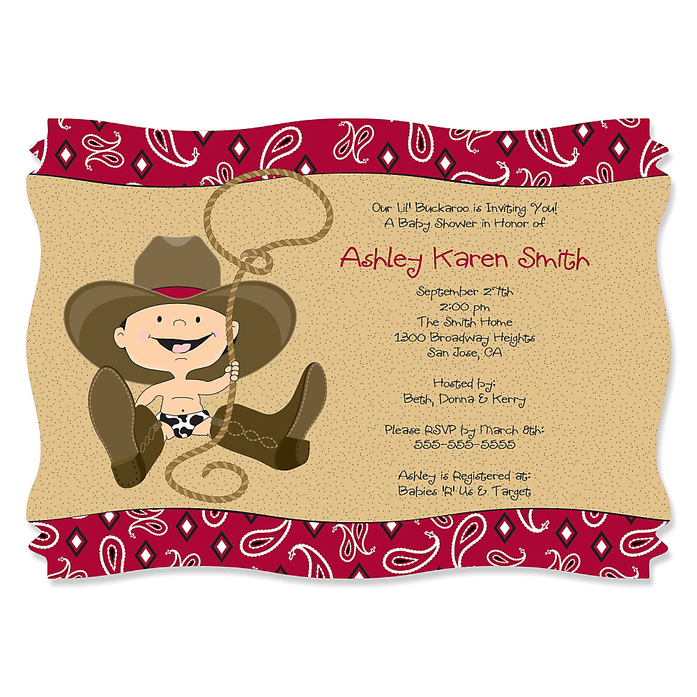 More Views. Little Cowboy   Western Personalized Baby Shower Invitations ...