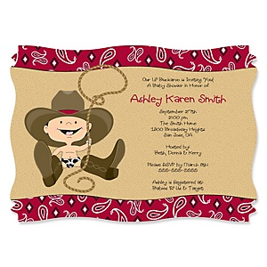 Little Cowboy - Western Personalized Baby Shower Invitations - Set of 12