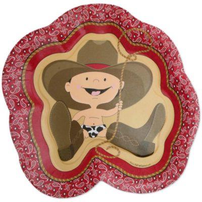 Little Cowboy   Western Baby Shower Dinner Plates   8 Ct
