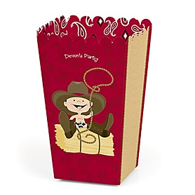 Little Cowboy - Western Personalized Party Popcorn Favor Treat Boxes - Set of 12