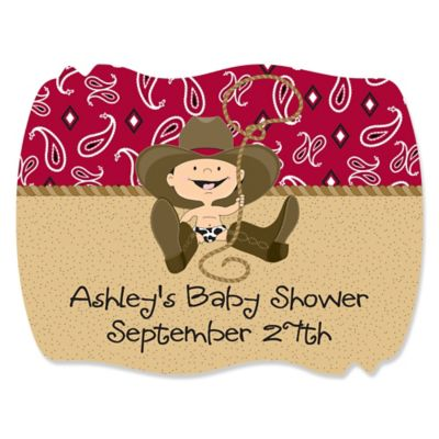 Little Cowboy   Western Personalized Baby Shower Squiggle Stickers   16 Ct
