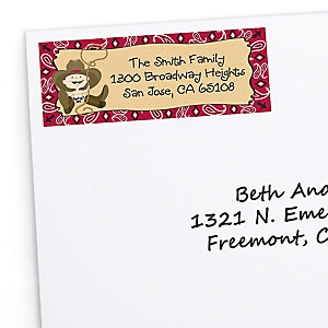 Little Cowboy - Western Personalized Birthday Party Return Address Labels - 30 ct