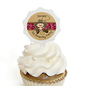 Little Cowboy - Western Personalized Birthday Party Cupcake Pick and Sticker Kit - 12 ct