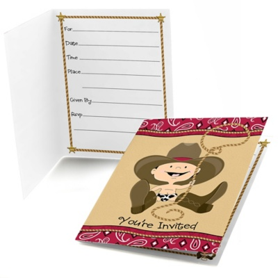 Little Cowboy - Birthday Party Fill In Invitations - 8 ct