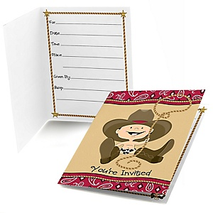 Little Cowboy - Western Birthday Party Fill In Invitations - 8 ct