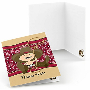 Little Cowboy - Western Birthday Party Thank You Cards - 8 ct