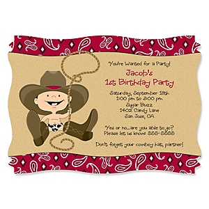 Little Cowboy - Western Personalized Birthday Party Invitations - Set of 12