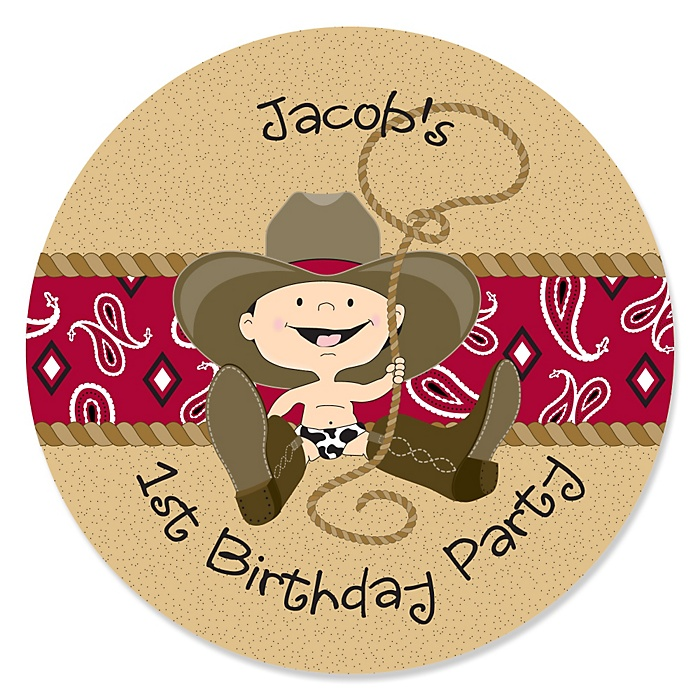 Little Cowboy - Western Personalized Birthday Party Sticker Labels - 24 ct