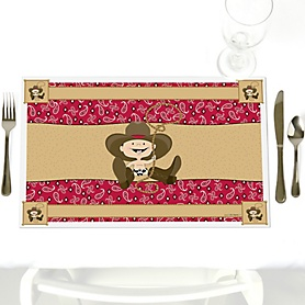 Little Cowboy - Party Table Decorations - Western Party Placemats - Set of 12