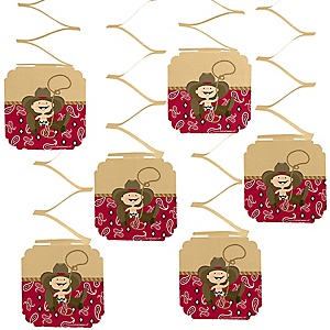 Little Cowboy - Western Baby Shower Hanging Decorations - 6 ct