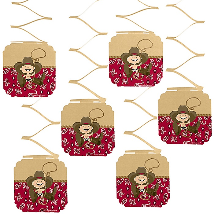 Little Cowboy - Western Birthday Party Hanging Decorations - 6 ct