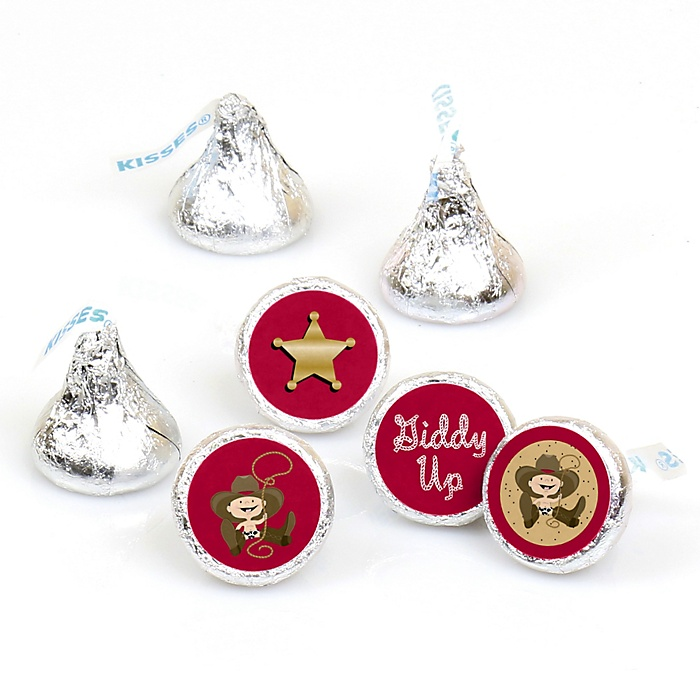 Little Cowboy - Western Round Candy Labels Party Favors - Fits Hershey's Kisses - 108 ct