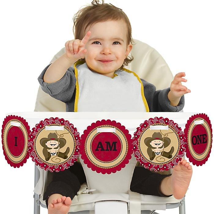 Little Cowboy - Western 1st Birthday - I am One - First Birthday High Chair Banner