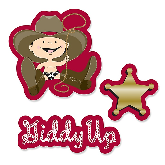 Little Cowboy - DIY Shaped Western Party Paper Cut-Outs - 24 ct