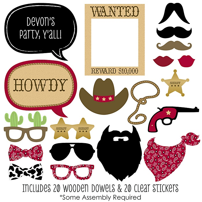 Little Cowboy - 20 Piece Western Photo Booth Props Kit