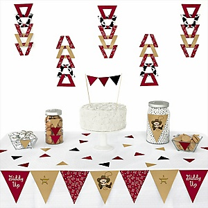 Little Cowboy -  Western Triangle Party Decoration Kit - 72 Piece