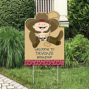 Little Cowboy - Western Party Decorations - Birthday Party or Baby Shower Personalized Welcome Yard Sign