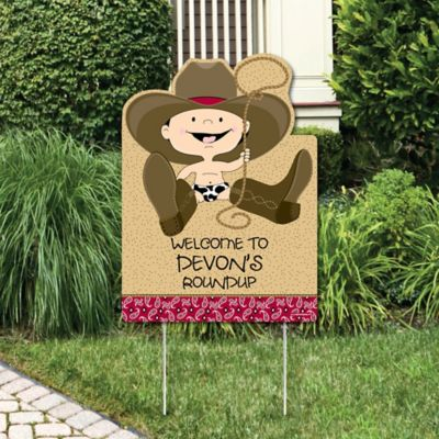 Little Cowboy   Western Party Decorations   Birthday Party Or Baby Shower  Personalized Welcome Yard Sign