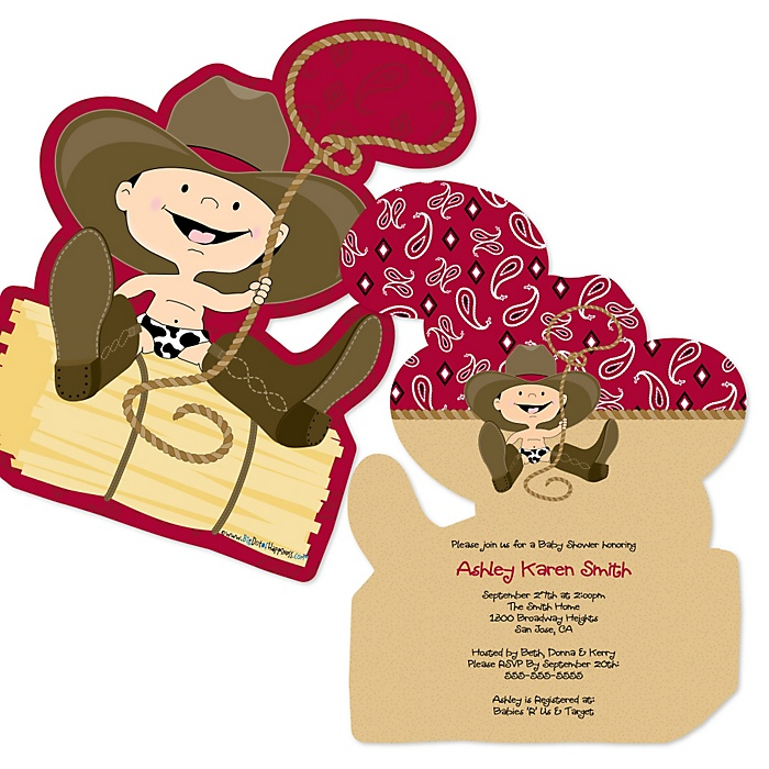Little Cowboy Shaped Western Baby Shower Invitations Set Of 12