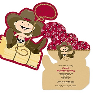 Little Cowboy - Shaped Western Birthday Party Invitations - Set of 12