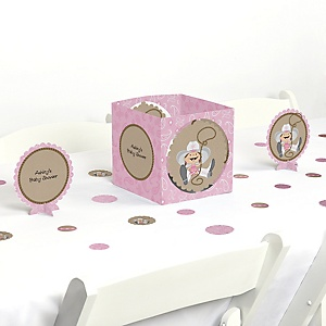 Little Cowgirl - Western Baby Shower Centerpiece & Table Decoration Kit