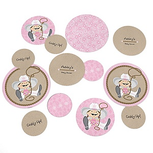 Little Cowgirl - Western Personalized Baby Shower Table Confetti - 27 ct