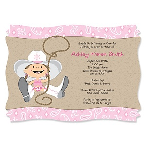 Little Cowgirl - Western Personalized Baby Shower Invitations - Set of 12