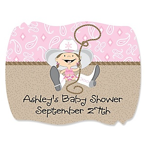Little Cowgirl - Western Personalized Baby Shower Squiggle Stickers - 16 ct