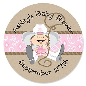 Little Cowgirl - Western Personalized Baby Shower Sticker Labels - 24 ct