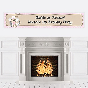 Little Cowgirl - Western Personalized Birthday Party Banners