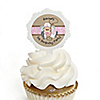 Little Cowgirl - Western Personalized Birthday Party Cupcake Pick and Sticker Kit - 12 ct