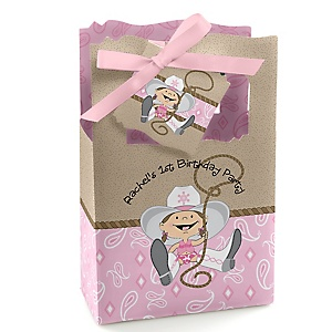 Little Cowgirl - Western Personalized Birthday Party Favor Boxes - Set of 12