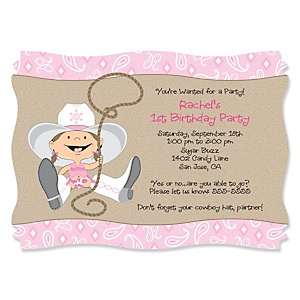Little Cowgirl - Western Personalized Birthday Party Invitations - Set of 12