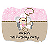 Little Cowgirl - Western Personalized Birthday Party Squiggle Stickers - 16 ct