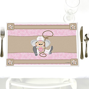 Little Cowgirl - Party Table Decorations - Western Party Placemats - Set of 12