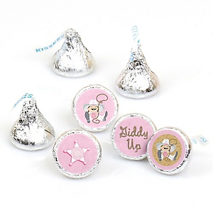 Little Cowgirl - Western Round Candy Labels Party Favors - Fits Hershey's Kisses - 108 ct