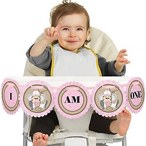 Little Cowgirl - Western 1st Birthday - I am One - First Birthday High Chair Banner