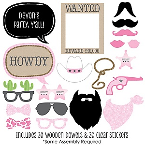 Little Cowgirl - Western 20 Piece Photo Booth Props Kit