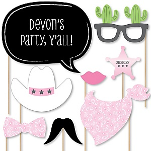 Little Cowgirl - Western Baby Shower Photo Booth Props Kit - 20 Props