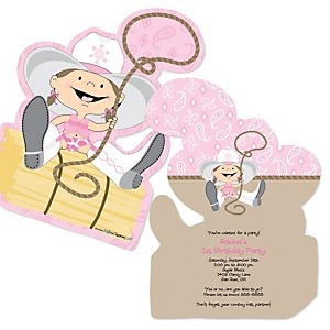 Little Cowgirl - Western Shaped Birthday Party Invitations - Set of 12