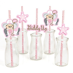 Little Cowgirl - Western Paper Straw Decor - Baby Shower or Birthday Party Striped Decorative Straws - Set of 24