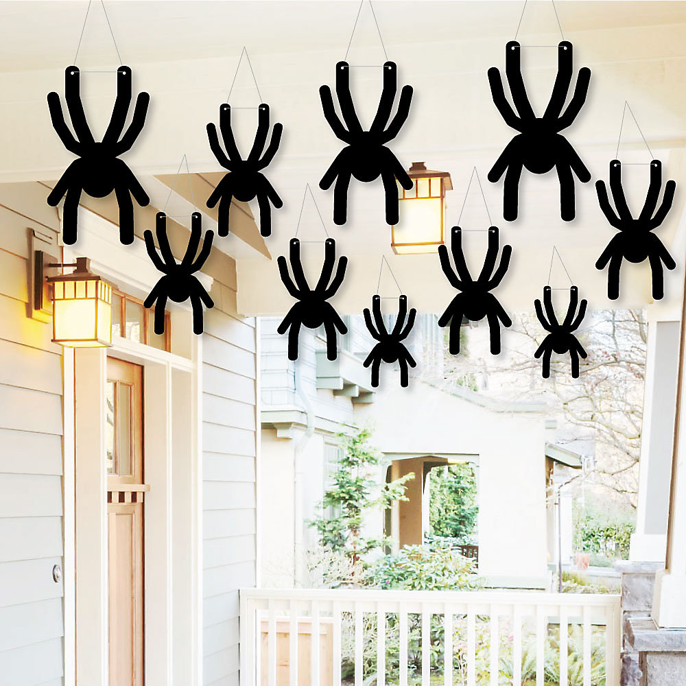 Hanging Creepy Spiders Outdoor Halloween Hanging Porch Tree Yard Decorations 10 Pieces