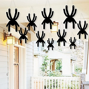 Hanging Creepy Spiders - Outdoor Halloween Hanging Porch & Tree Yard Decorations - 10 Pieces