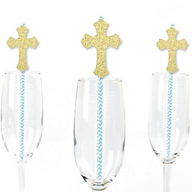 Gold Glitter Boy Cross Party Straws - No-Mess Real Gold Glitter Cut-Outs and Decorative Baptism or Boy Baby Shower Paper Straws - Set of 24