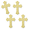 Gold Glitter Cross - No-Mess Real Gold Glitter Cut-Outs - Baptism or Baby Shower Confetti - Set of 24